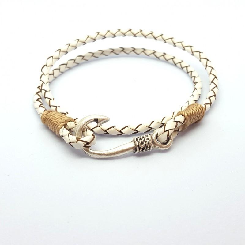 cbec79d28f782 Bracelet pour Homme cordon cuir tressé blanc et fil beige, 2 tours avec  fermoir hameçon en plaqué Argent.